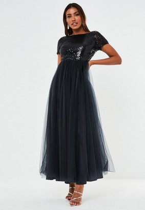 Missguided Navy Sequin Short Sleeve Tulle Maxi Bridesmaid Dress