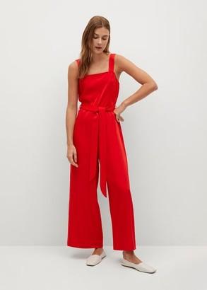 MANGO Belt long jumpsuit red - XS - Women