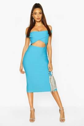 boohoo Boutique Contouring Off The Shoulder Bandage Midi Dress