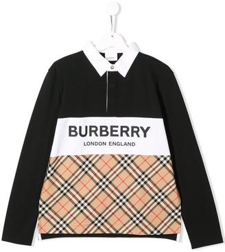 BURBERRY KIDS Signature Check Polo Shirt