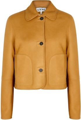 Loewe Camel Shearling-lined Leather Jacket