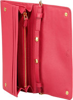 Prada Saffiano Wallet on a Chain, Pink (Peonia)
