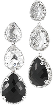 Delatori By Alor Silver 42.00 Ct. Tw. Black Onyx & Crystal Drop Earrings