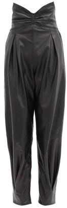 RED Valentino Cummerbund-waist Pleated Leather Trousers - Black