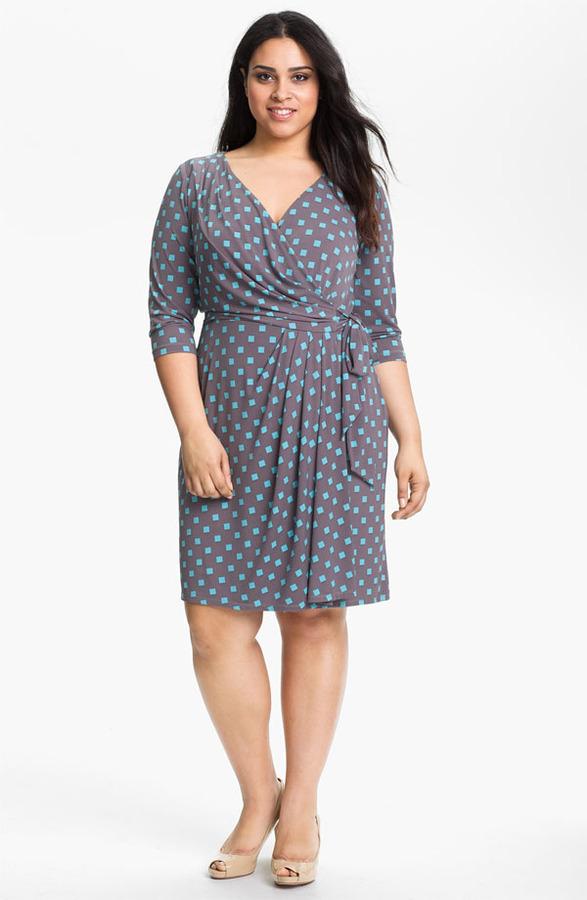 Suzi Chin for Maggy Boutique Print Wrap Dress (Plus Size)