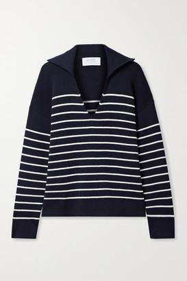 La Ligne Striped Cotton And Cashmere-blend Sweater - Midnight blue