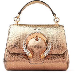 Jimmy Choo MADELINE TOP HANDLE/S Metallic Degrade Python Top Handle Bag with Crystal Buckle