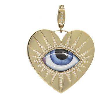 Lito Fine Jewelry Big Blue Enamel and Diamond Evil Eye Heart Charm - Yellow Gold