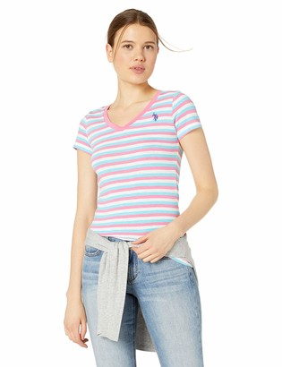 U.S. Polo Assn. Women's Cotton Slub Striped V-Neck T-Shirt