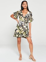 AX Paris TropicalPrint Wrap Dress - Black
