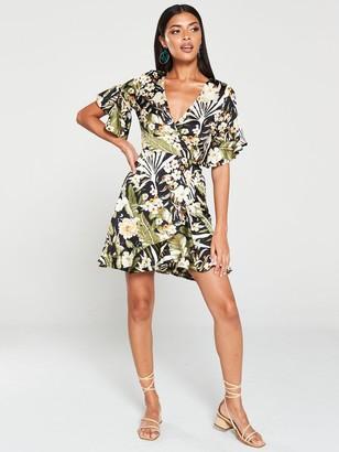 AX Paris TropicalPrint Wrap Dress - Black