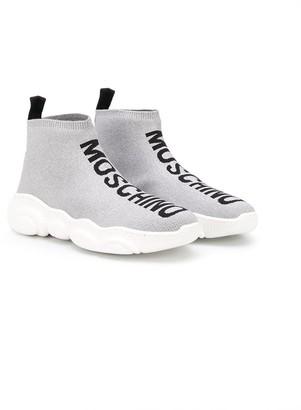 MOSCHINO BAMBINO TEEN high-top sock sneakers