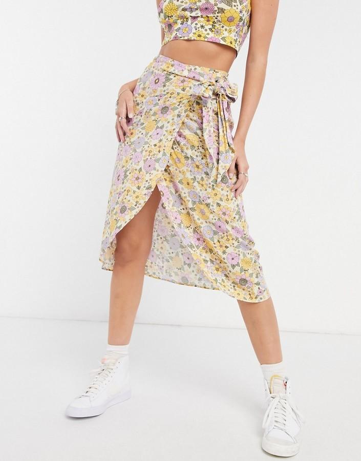 Thumbnail for your product : Monki Gab floral print wrap midi skirt in yellow