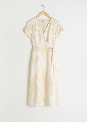 And other stories Striped Linen Blend Wrap Dress