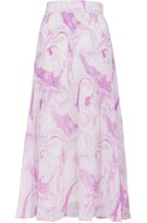 Thumbnail for your product : Ganni Printed Pleated Georgette Midi Skirt