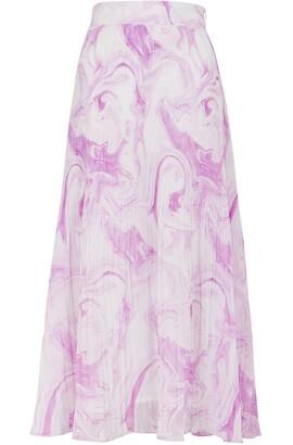 Ganni Printed Pleated Georgette Midi Skirt