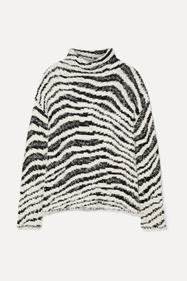 By Malene Birger Dianella Zebra-intarsia Cotton-blend Turtleneck Sweater - White