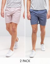 Asos 2 Pack Slim Chino Shorts In Light Purple And Blue Save