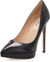 Valentino Leather Pointed-Toe Platform Pump