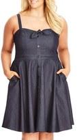 City Chic Plus Size Women's 'Sweet Denim' Fit & Flare Dress