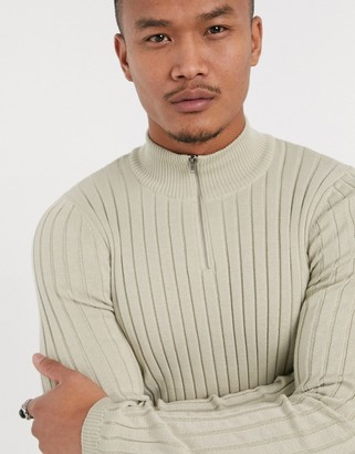 ASOS DESIGN muscle fit half zip wide rib jumper in beige