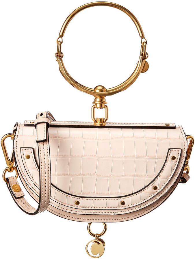 b83bf586de Nile Minaudiere Small Croc-Embossed Leather Bracelet Bag