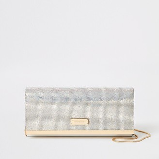 River Island Silver diamante clutch bag
