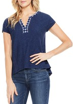 Vince Camuto Embroidered High/Low Tee