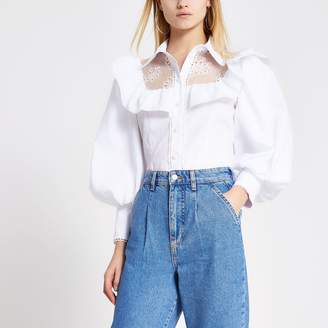 River Island Womens White embroidered puff sleeve frill shirt