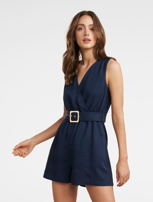 Forever New Asher Wrap Playsuit - Navy - 4