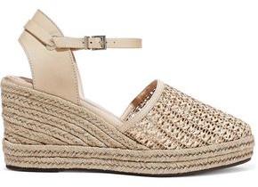 Schutz Claudina Woven Leather Wedge Espadrilles Sandals