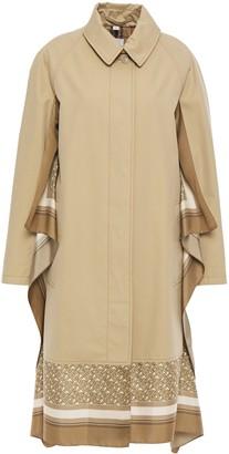 Burberry Draped Silk-trimmed Cotton-gabardine Trench Coat