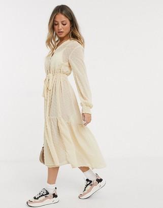Miss Selfridge dobby maxi smock dress in sand-Pink