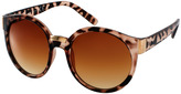 ASOS Round Sunglasses With Mixed Bridge Detail - Brown