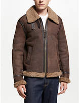 JOHN LEWIS & Co. Shearling Leather Flight Jacket, Chestnut