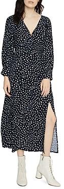 Sanctuary Niki Long-Sleeve Dot Print Midi Dress