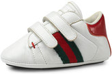 Gucci Leather Grip-Strap Sneaker, White, Infant