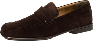 Louis Vuitton Vintage Brown Suede Slip On Loafers Size 43.5