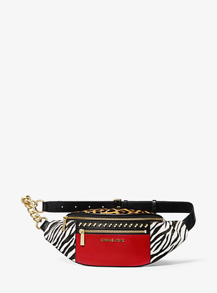 MICHAEL Michael Kors Medium Studded Leather And Animal-Print Calf Hair Belt Bag