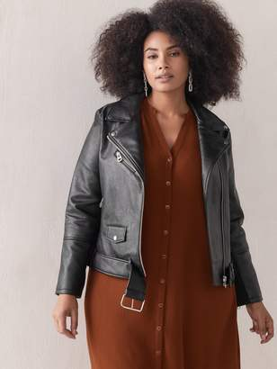 Textured Faux Leather Biker Jacket - Addition Elle