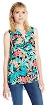 Adrianna Papell Women's Print Sleeveless Blouse
