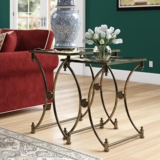 Fleur De Lis Living Chrystal 2 Piece Nesting Tables Color: Antique Gold