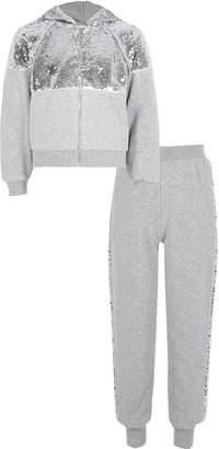 River Island Girls Grey sequin zip front hoodie outfit