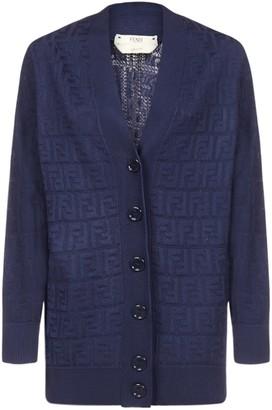Fendi Ff Jacquard Cotton And Viscose Blend Cardigan
