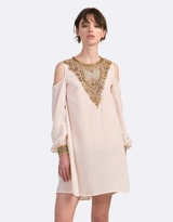 Coco Ribbon Embellished Dress with Cut-Out Shoulders