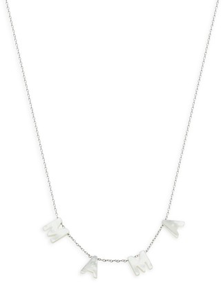 GABIRIELLE JEWELRY Sterling Silver Mother-Of-Pearl Mama Necklace