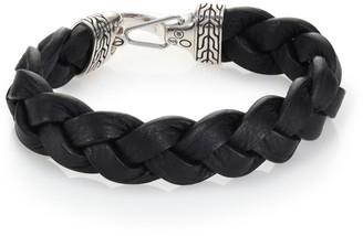 John Hardy Classic Chain Sterling Silver & Leather Braided Hook Bracelet
