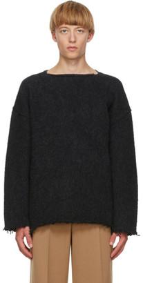 Jil Sander Navy Wool Fringe Sweater