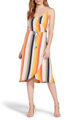 Cupcakes And Cashmere Stella Stripe Wrap Midi Dress
