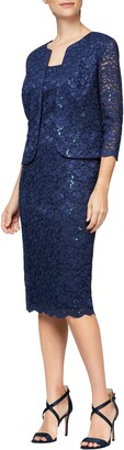 Alex Evenings Sequin Lace Shift Dress with Jacket